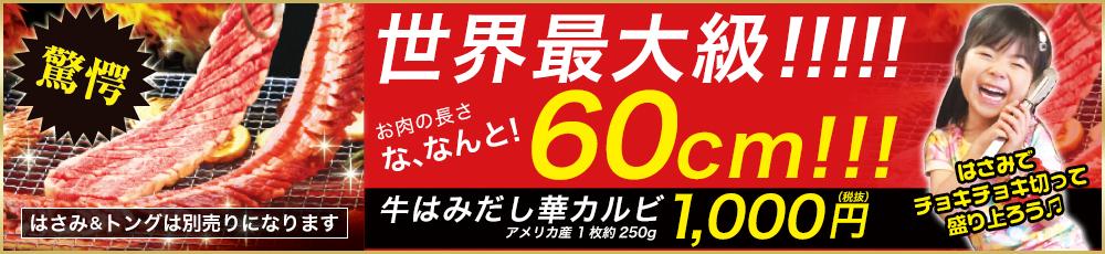 牛はみだし華カルビ 1,000円(税抜)世界最大級!お肉の長さなんと60cm!