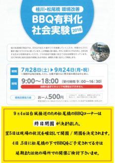 台風21号の接近につき、9月4日は松尾橋のBBQコーナーは閉鎖されます。